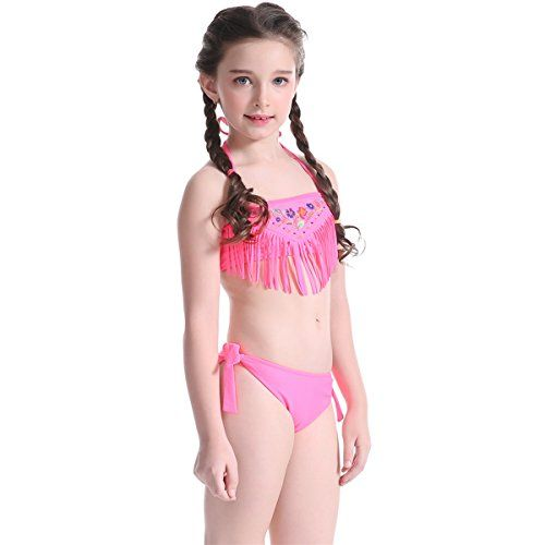 94da79742c0ce DZHCreation Girls Two Pieces Tassels Flower Embroidery Halter Bikini  Swimwear Bathing Suit