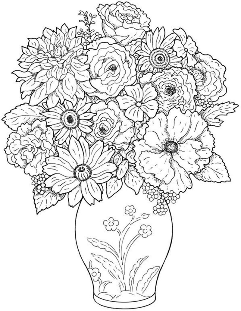 Free Vase Flower Coloring Pages in 2020 | Printable flower coloring pages,  Detailed coloring pages, Butterfly coloring page