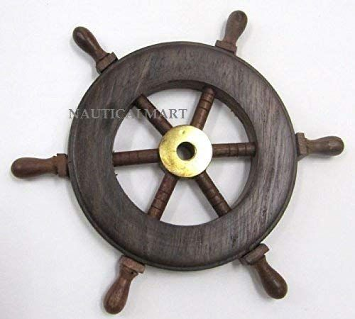 18 inches, Clock Size - 10 inches Noor Handicrafts Nautical Handcrafted Wooden Premium Wall Decor Wooden Clock Ship Wheels with Brass Anchor Pirates Accent Maritime Decorative Times Clock