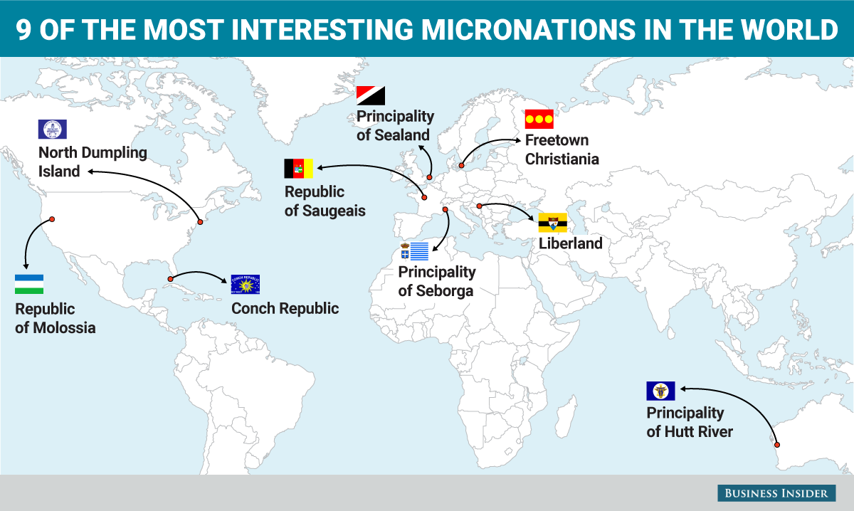 9 of the strangest self-proclaimed nations in the world on one map ...