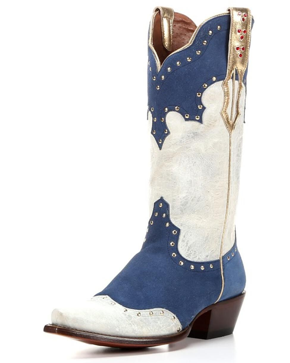 Women's Elvis Graceland Boot Blue Suede and Vintage White
