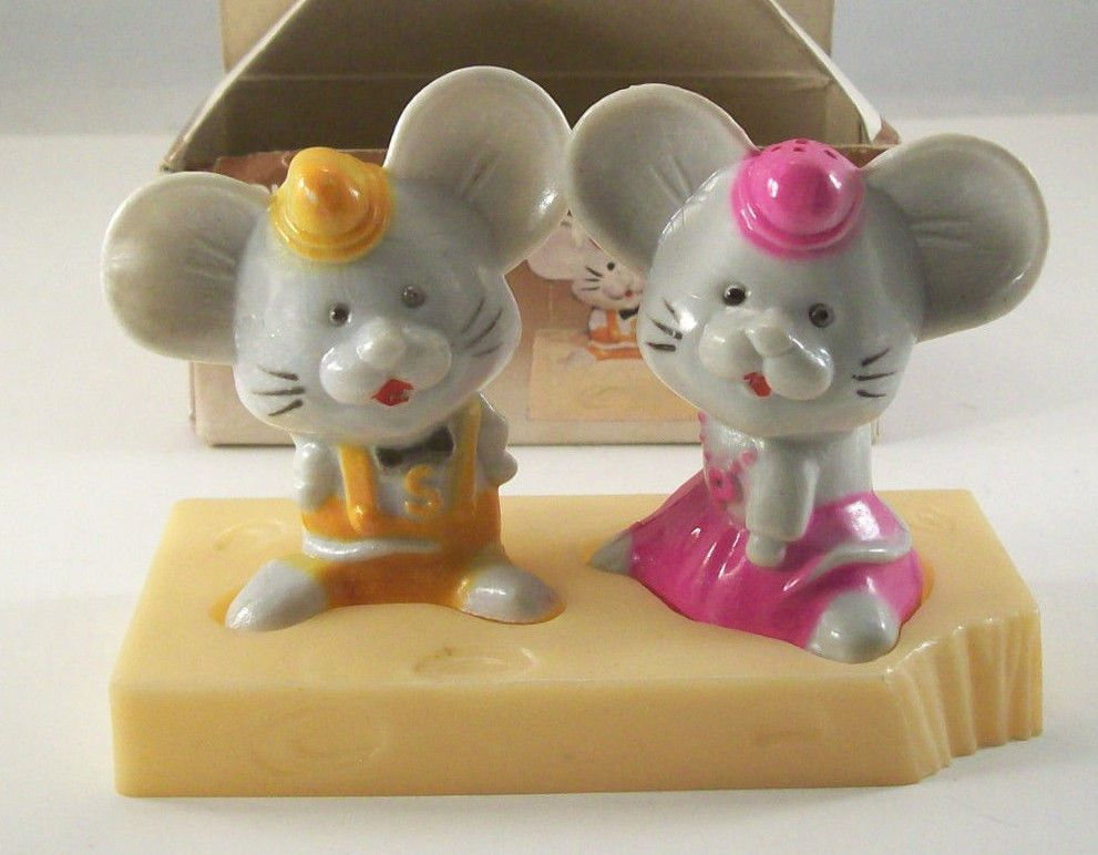 Vintage Plastic Mice U0026 Cheese Novelty Salt U0026 Pepper Shakers By JSNY In  Collectibles, Decorative Collectibles, Salt U0026 Pepper Shakers | EBay