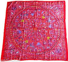 NEW Authentic Hermes Lalbhai Summer Twill Silk Scarf 140cm GM Red Indology