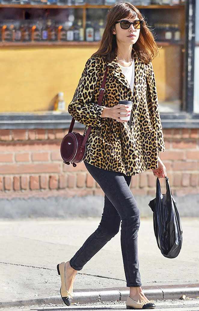 068275c8f8b0aa Alexa wears a vintage leopard coat, Acne Skin 5 Jeans, Chanel ballet flats,  and a Carven bag.