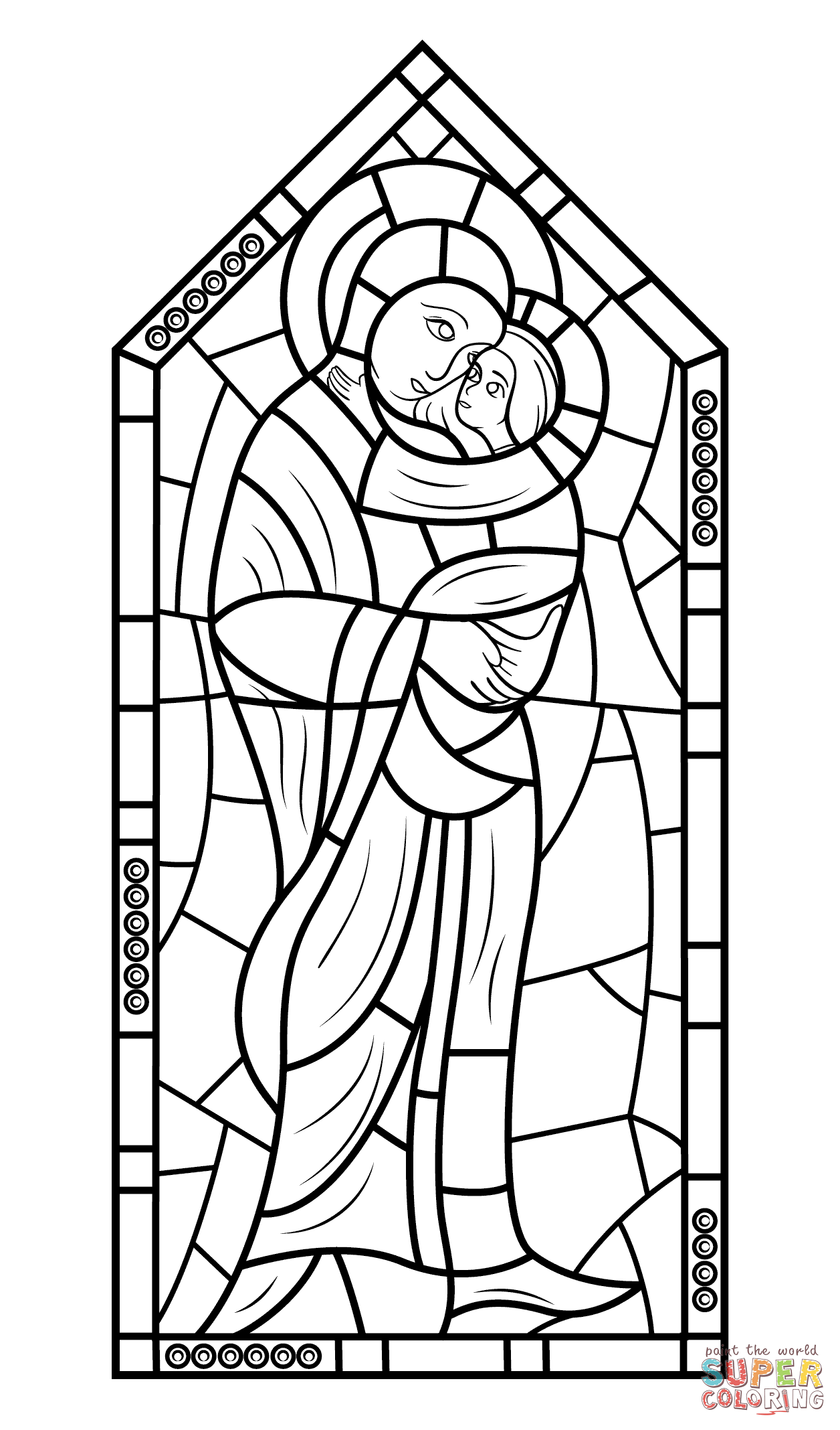 Http Www Supercoloring Com Coloring Pages Mother Mary With Jesus Stained Glass Version Print Stained Glass Patterns Free Sea Glass Art Diy Coloring Pages