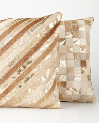 Beige+Cowhide+Pillows+at+Neiman+Marcus.