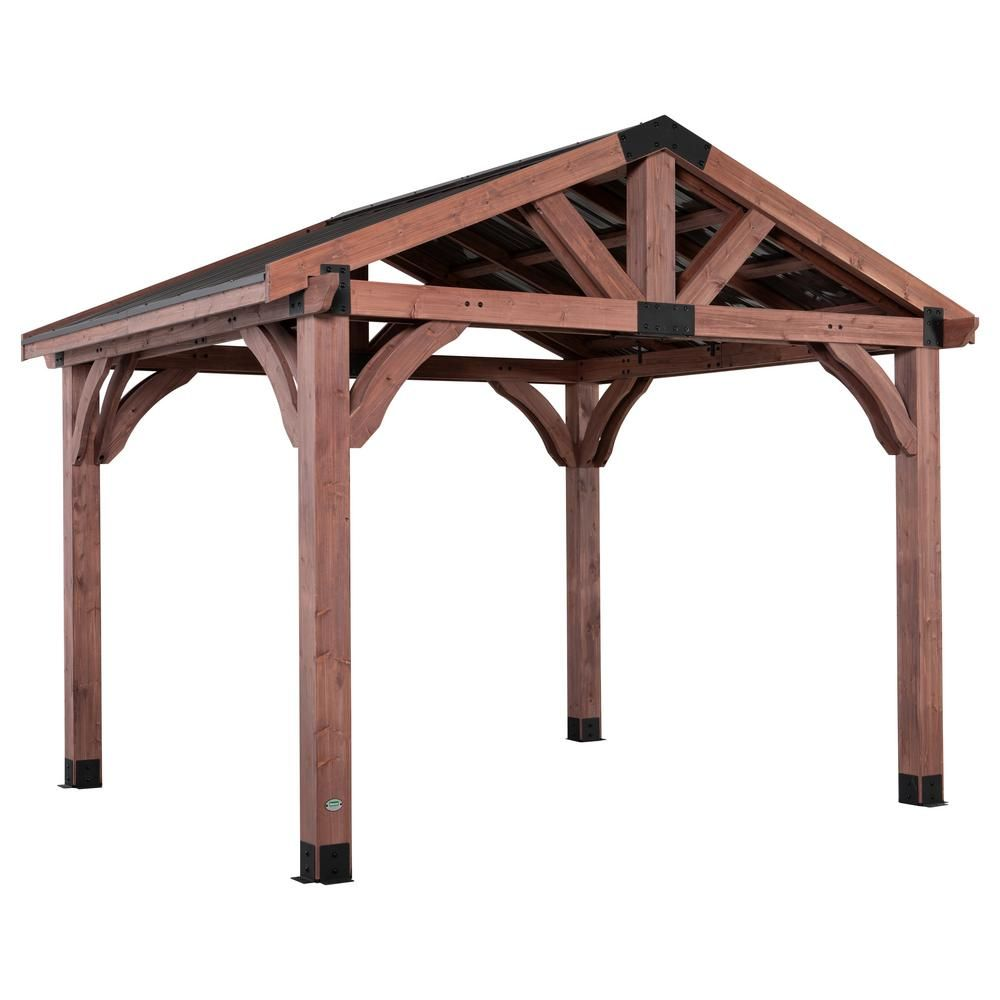 Backyard Discovery Arlington 12 Ft X 10 Ft Gazebo With Steel Roof 2001510com The Home Depot In 2020 Gazebo Wood Patio Pergola Canopy