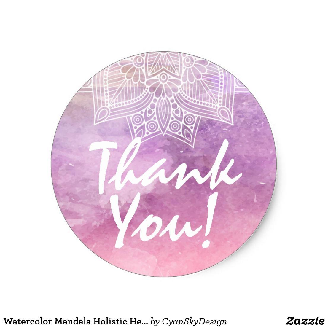 Watercolor mandala holistic healing thank you classic round sticker by cyanskydesign on zazzle • thankyou packaging marketing mandala