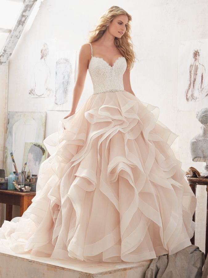 Blush Morilee ruffled wedding gown  http   www.stylemepretty.com  14077f011