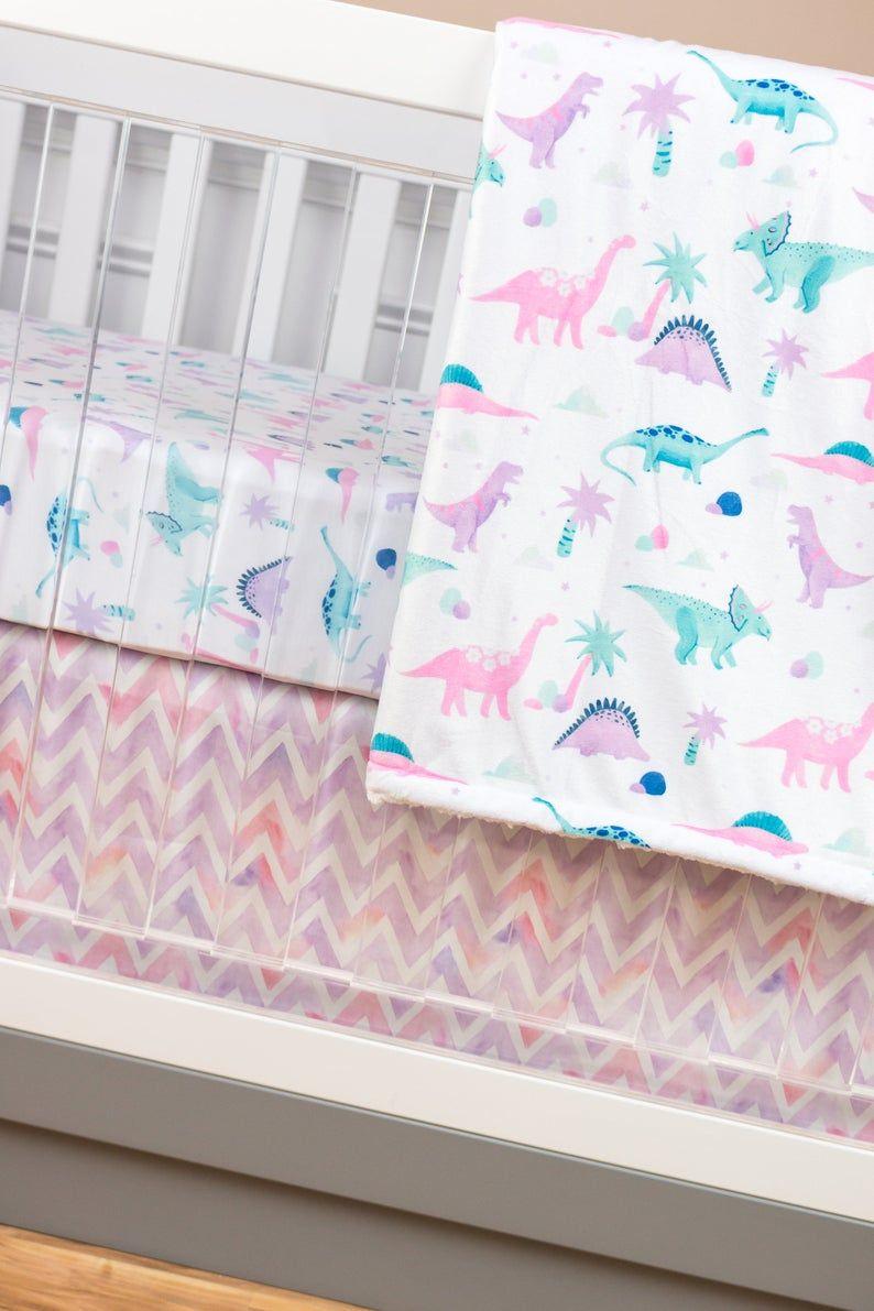 Dinosaur Crib Bedding Baby Girl Nursery Pink Purple Mint Etsy Baby Girl Nursery Pink Dinosaur Crib Bedding Girl Nursery Pink