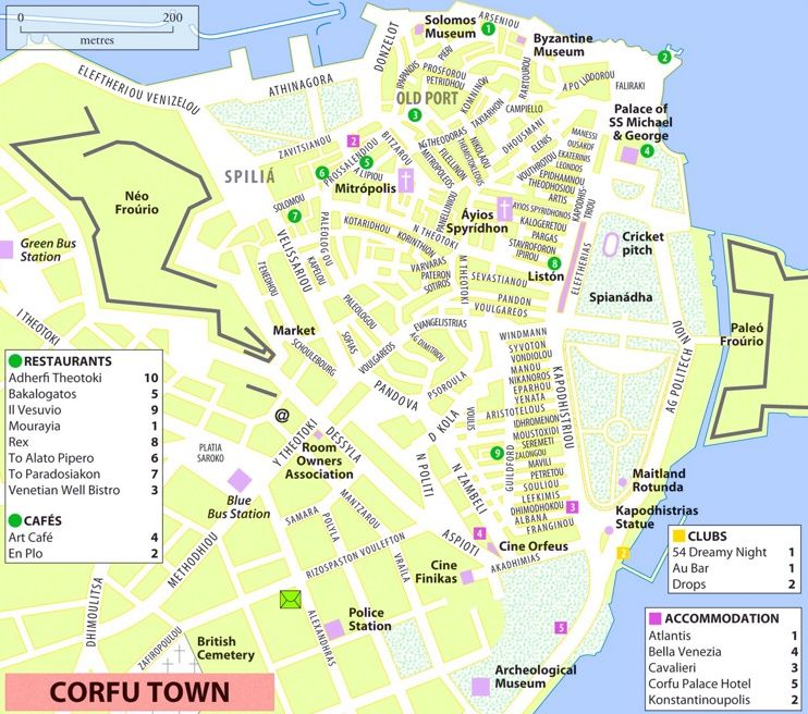 Corfu City sightseeing map Maps Pinterest Corfu and City