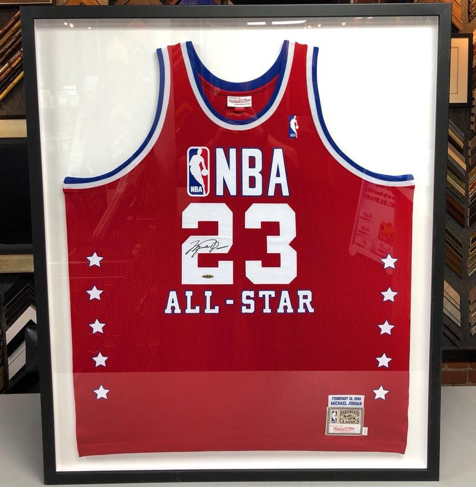 99a05a95907 Michael Jordan All-Star jersey custom framed with exclusively acid-free  materials and UV glass! #denver #colorado #jerseyframing #sportsframing ...