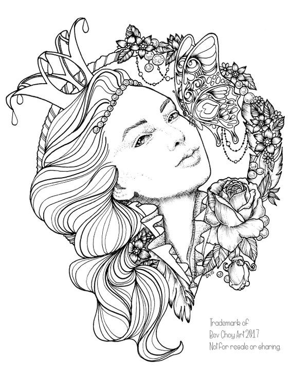 Adult Coloring Pages Two For One Butterfly Princess And Majestic