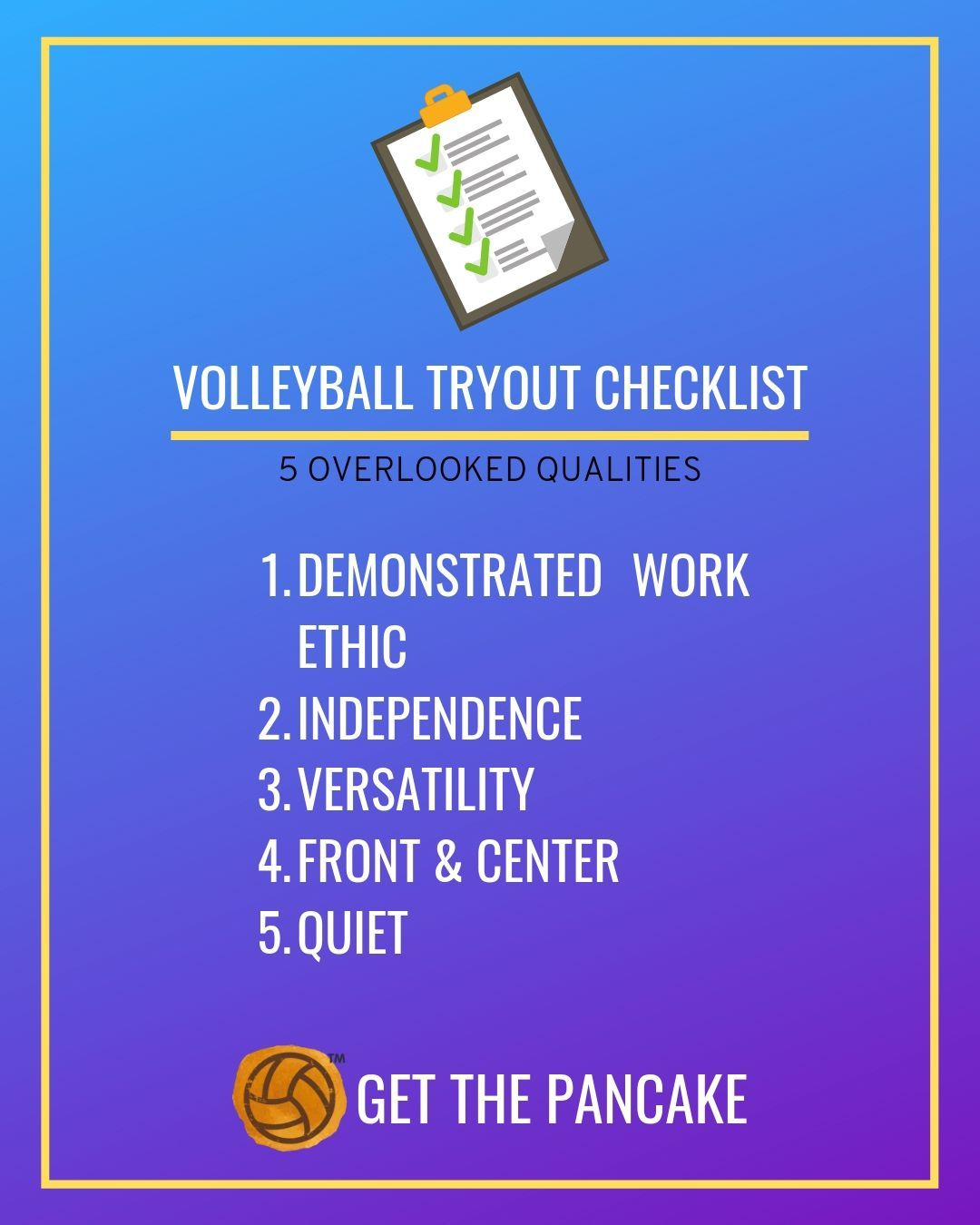Volleyball Tryout Checklist 5 Overlooked Qualities Volleyball Tryouts Coaching Volleyball Volleyball Drills For Beginners