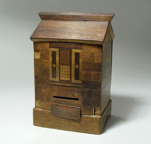Antique Japanese Wooden Puzzle House Money Box A F For Restoration