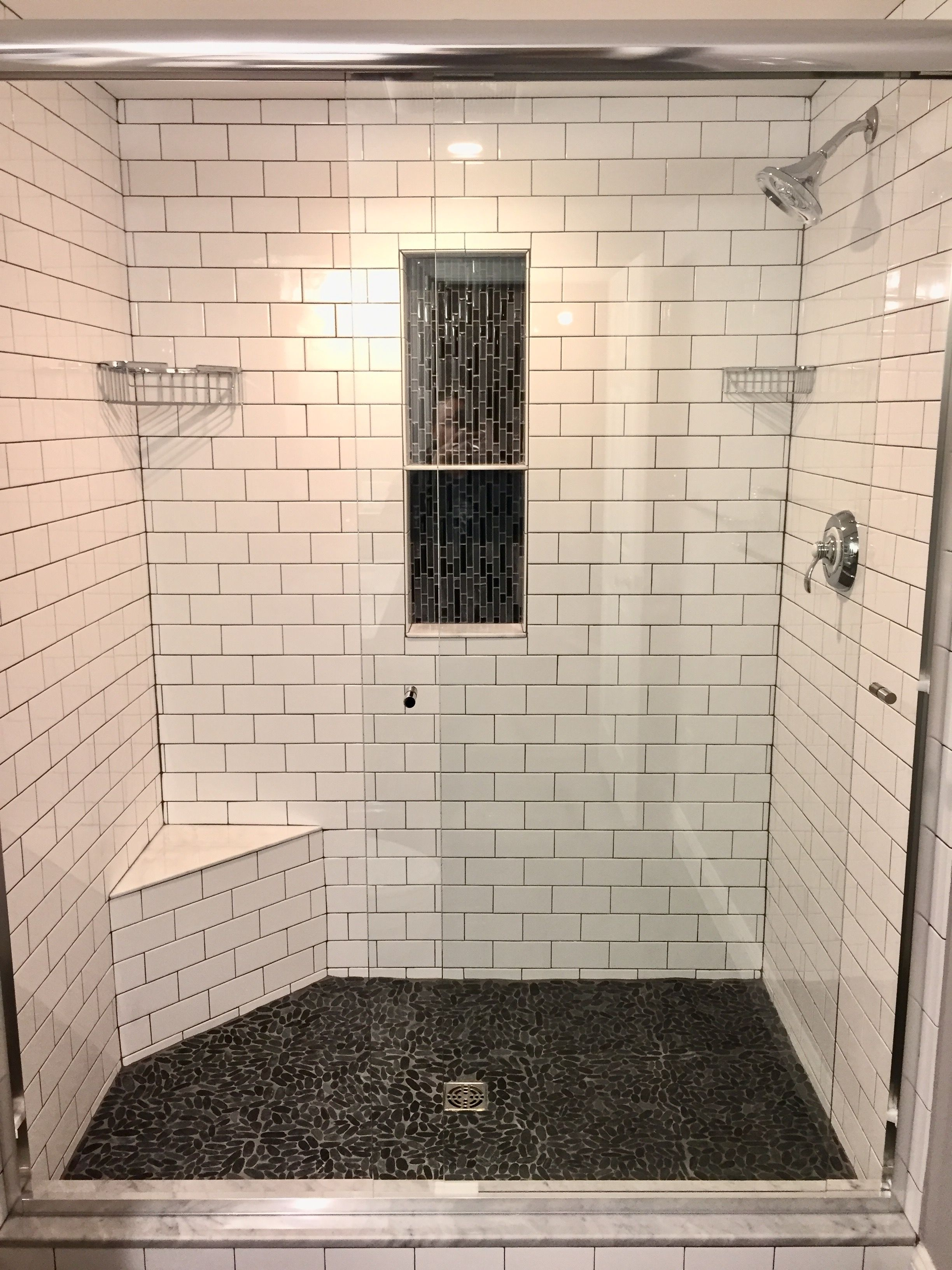 Master shower subway tile with grey grout vertical backsplash master shower subway tile with grey grout vertical backsplash niche and sliced pebble tile dailygadgetfo Choice Image