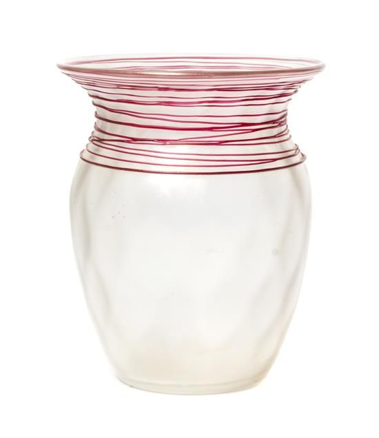 A Steuben Verre de Soie Glass Vase, Height 6 1/2 inches.