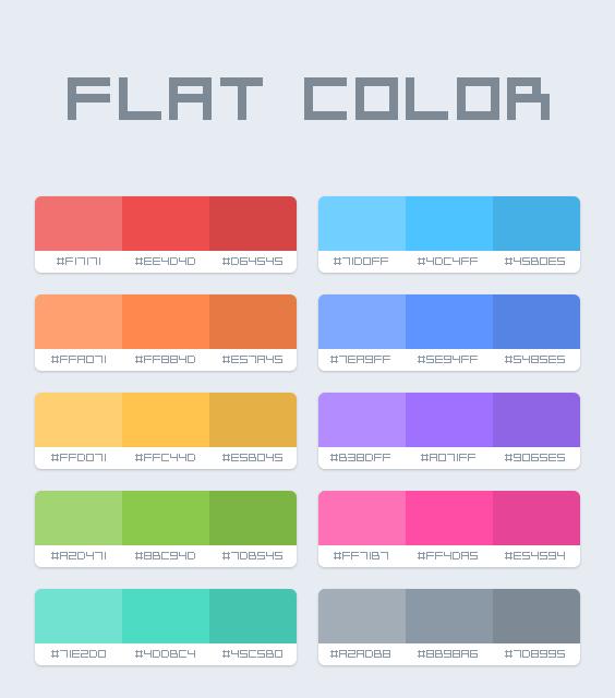 Flat design color palette