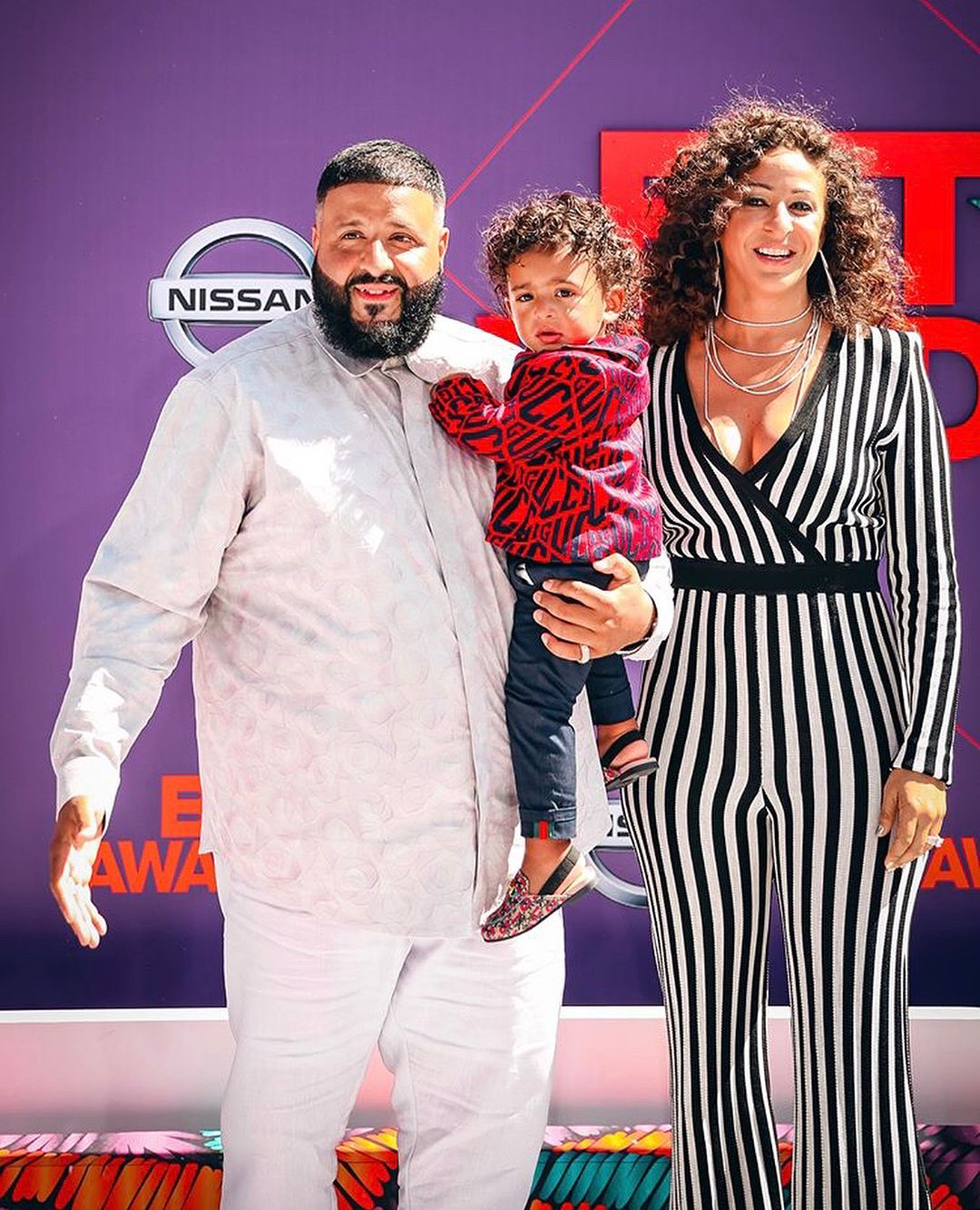 38c96e83d All eyes were on DJ Khaled s son Asahd who looked adorable wearing this  GUCCI Baby Red Boys Game Cotton Suit at the 2018 BET Awards.