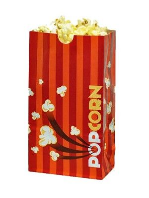 Laminated popcorn bags.  Good for buttery popcorn!  Movie Theater Laminated Popcorn Bags