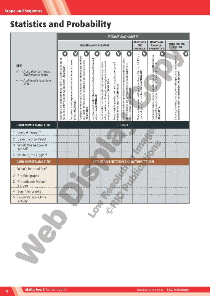 The Australian Curriculum Maths Box Year 3 Statistics and