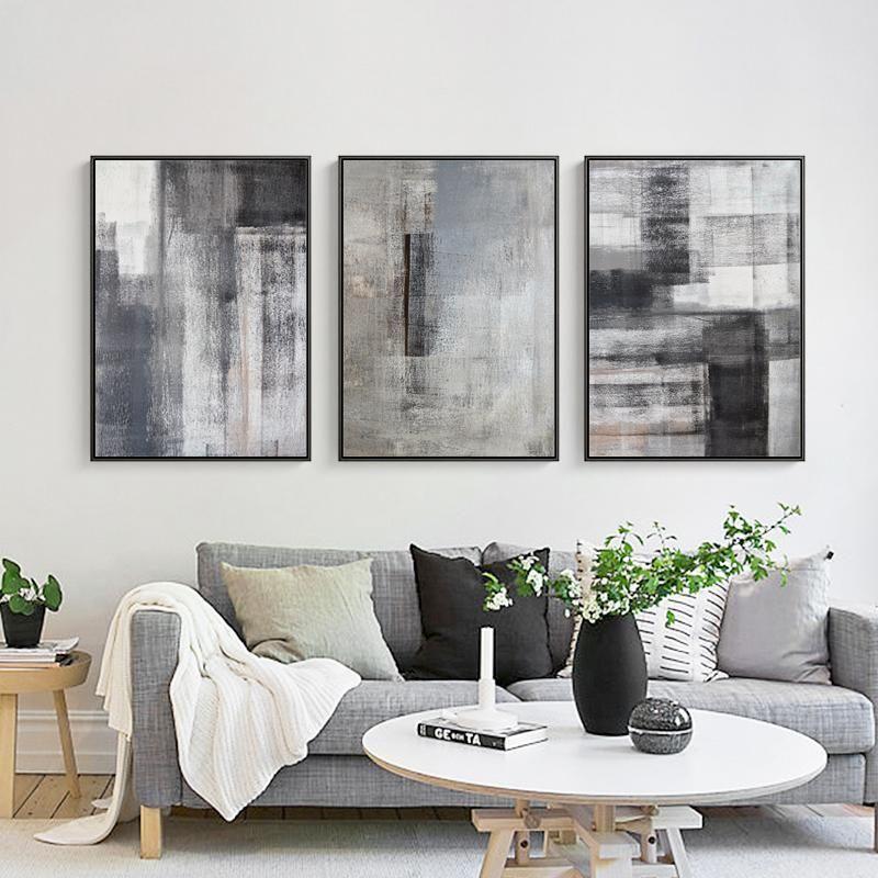 Abstract Grey Brushed Canvas Wall Art Wall Art Living Room Living Room Decor Modern Living Room Art #wall #art #for #grey #living #room