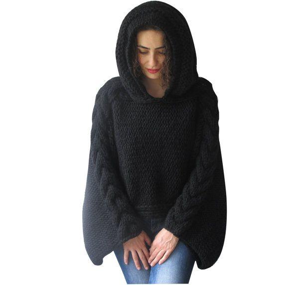 Plus Size stricken Pullover Capalet mit Hoodie  Größe von afra