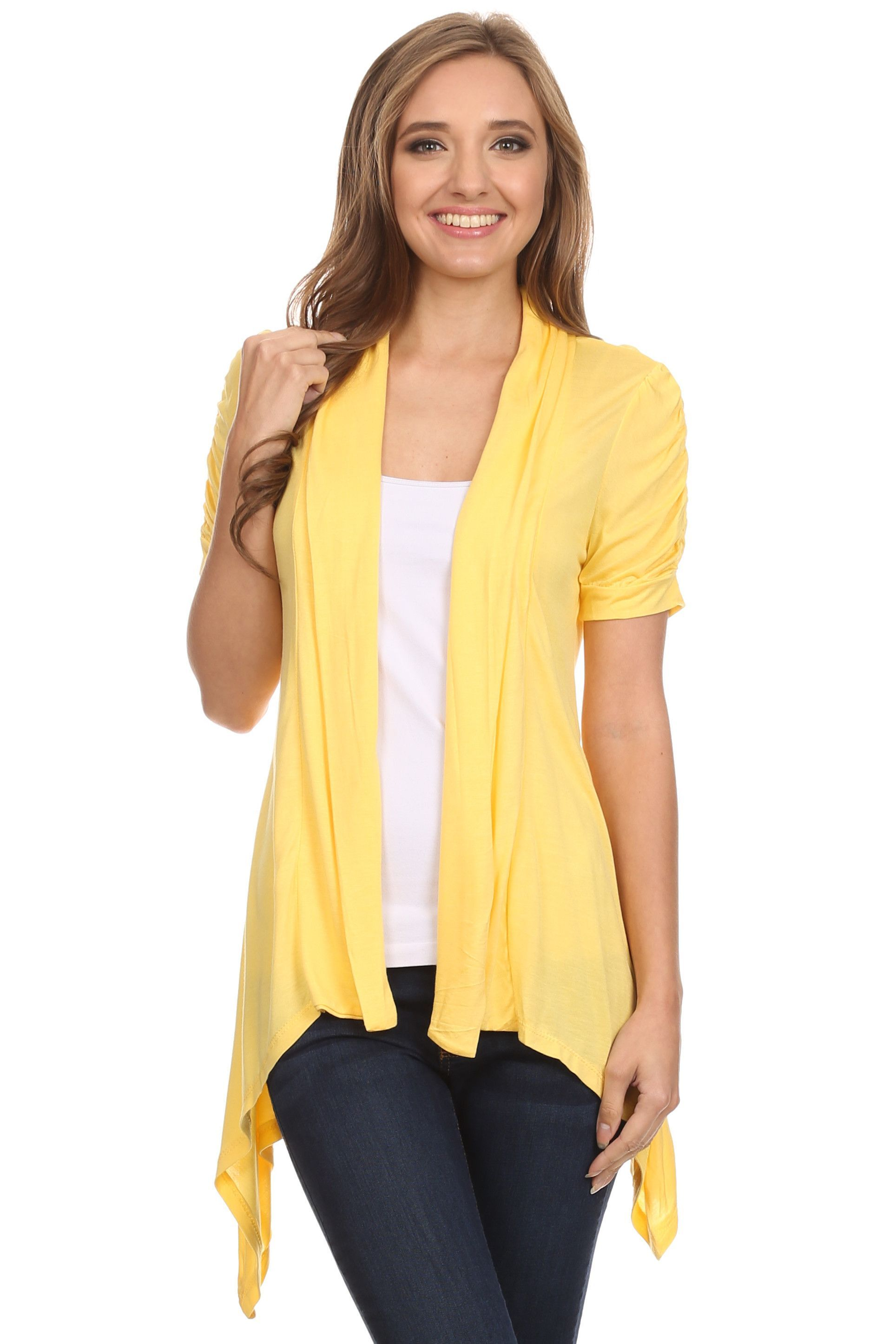 Sleeve Cardigan for Women Open Front Draped Flyaway Cardigan ...