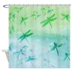 #showercurtains #bathdecor #sandandchi Vibrant Aqua Dragonflies Shower Curtain