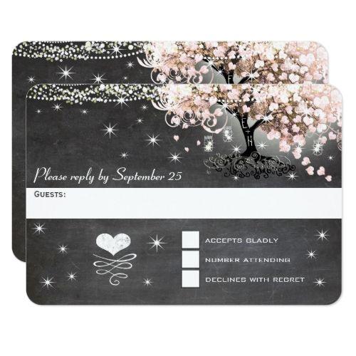 Typography Wedding RSVP Chalkboard Pink Heart Leaf Tree RSVP Card