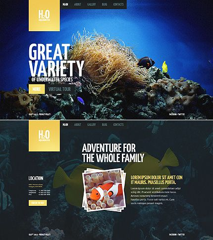 Template 44957 - Aquarium JS Animated Website Template with ...
