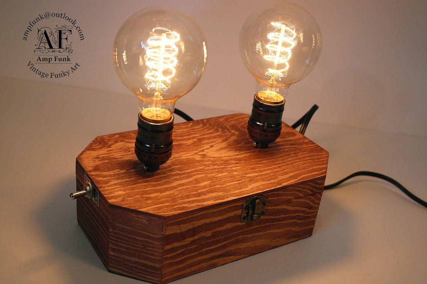 Tesla Wood Lamp Box Twin Bulbs By Vintageampfunk On Etsy Lamparas De Mesa Libreros Mesas
