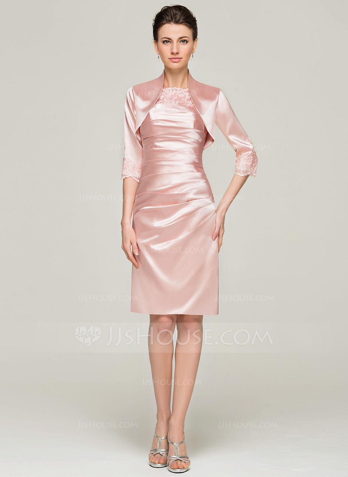 Sheath/Column Scoop Neck Knee-Length Charmeuse Mother of the Bride ...