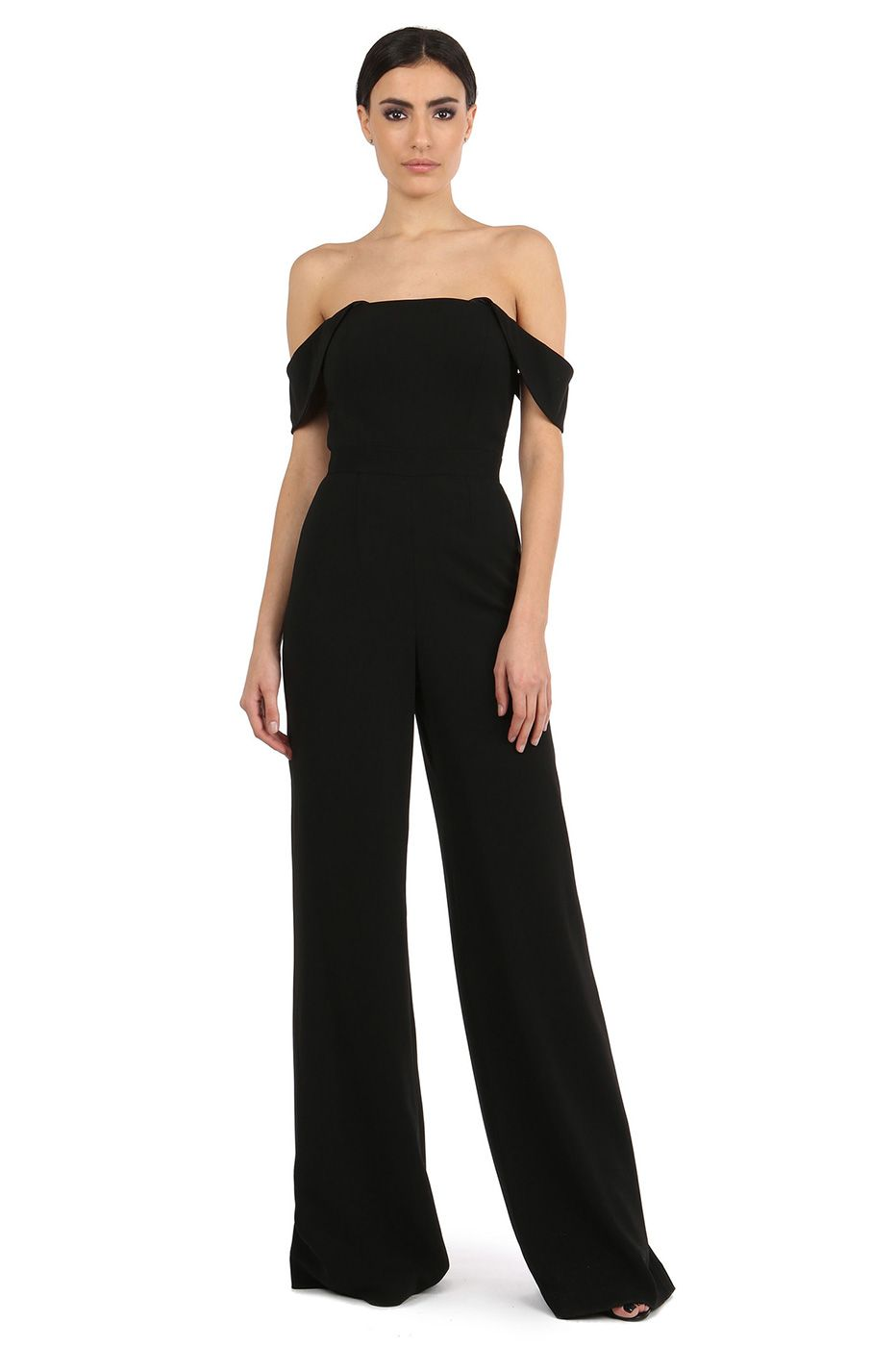 7748e231317 BRIN BLACK OFF-SHOULDER JUMPSUIT  540 THE BRIN JUMPSUIT IS THIS SEASON S  ALL-STAR. THE OFF-THE-SHOULDER CAPLET SLEEVES SCREAM ST…