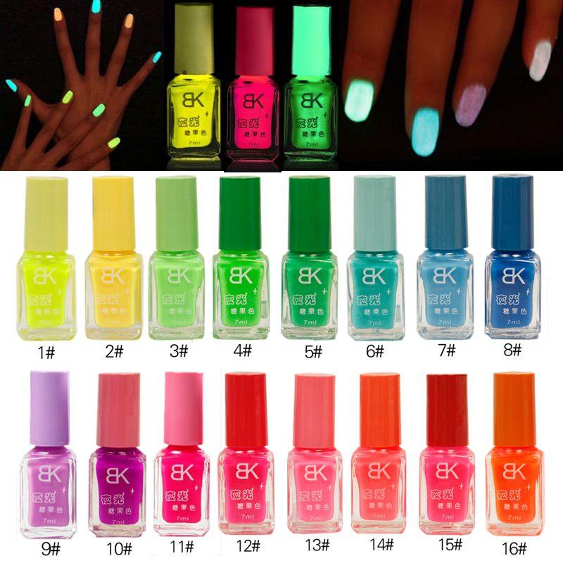 20 Candy Colors Luminous Nail Polish Light Glow in Dark Nail Varnish ...