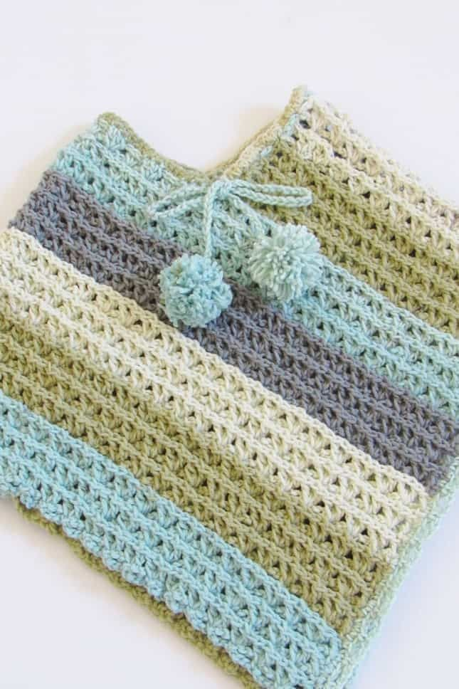 Free Child Crochet Poncho Pattern, Sea Breeze Poncho