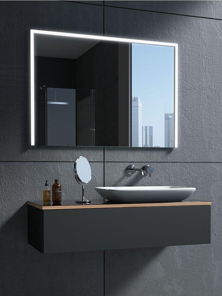 Badspiegel Mit Lichtprofilen Kaufen Nach Mass Hannover 3 Spiegel21 Badspiegel Badezimmer Schwarz Badspiegel Led