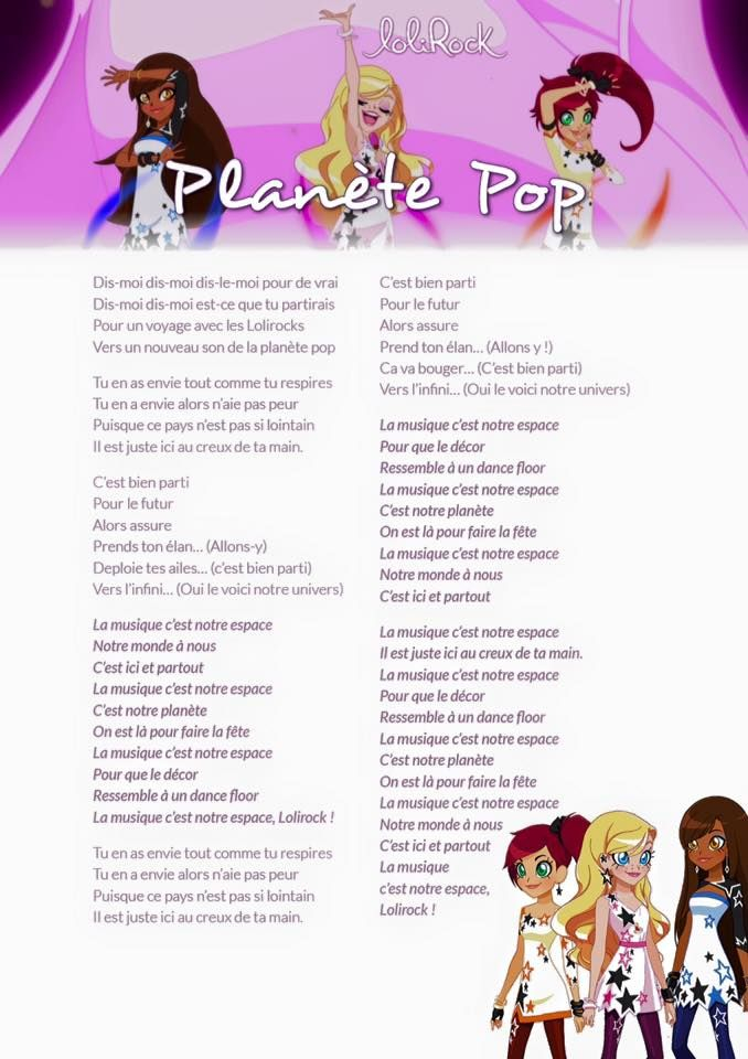 Lolirock Planete Pop Lolirock Chanson Dessin Anime