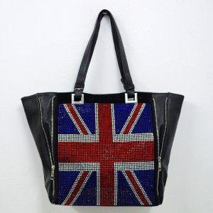 Grand cabas noir avec le drapeau anglais en strass