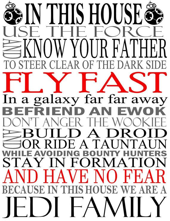 Star Wars House Rules Sign Jedi Quotes Art by OliviaQuinnCouture