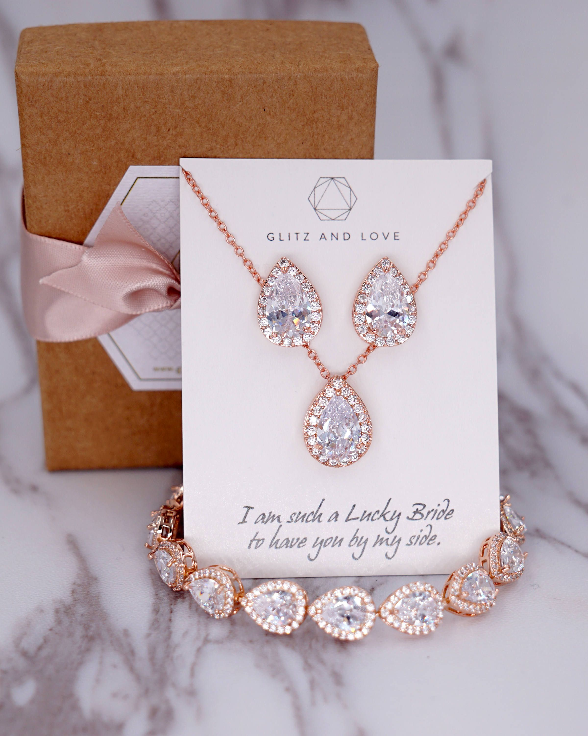 Rose Gold Wedding Bridesmaid Gift Bridal Earrings Necklace Etsy Wedding Gifts For Bridesmaids Bride Jewelry Set Rose Gold Wedding Bridesmaids