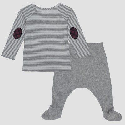 20f034708a42 Baby Boys  Harry Potter 2pc Long Sleeve T-Shirt and Footed Joggers with  Kangaroo Pocket Set - Gray 12M