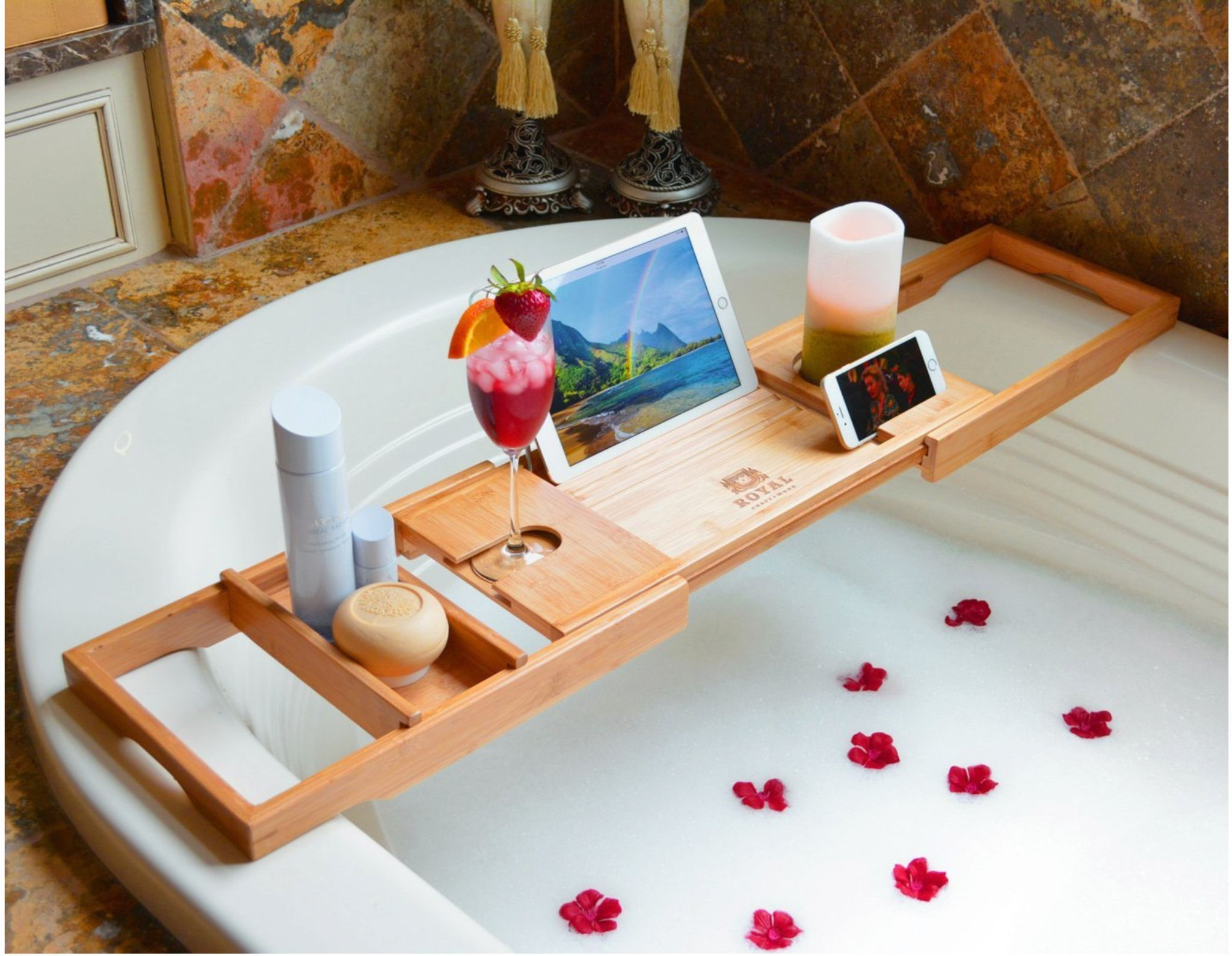 Luxury Dark Walnut Brown Bathtub Caddy, Natural Premium Bamboo Bath ...