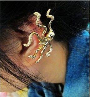 Faux (Gold/Silver) Octopus in ear clip/cuff  ** Blubydesign Ltd. Edition