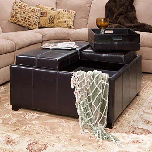 Harley Four Sectioned Espresso Leather Cube Storage Ottoman ...
