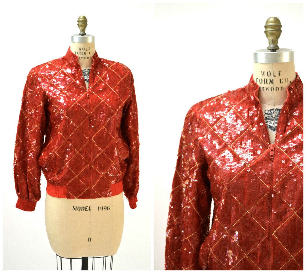 Vintage Red Sequin Jacket Size Small Medium Red Argyle