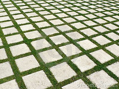Grid Of Grass And Paving Stones