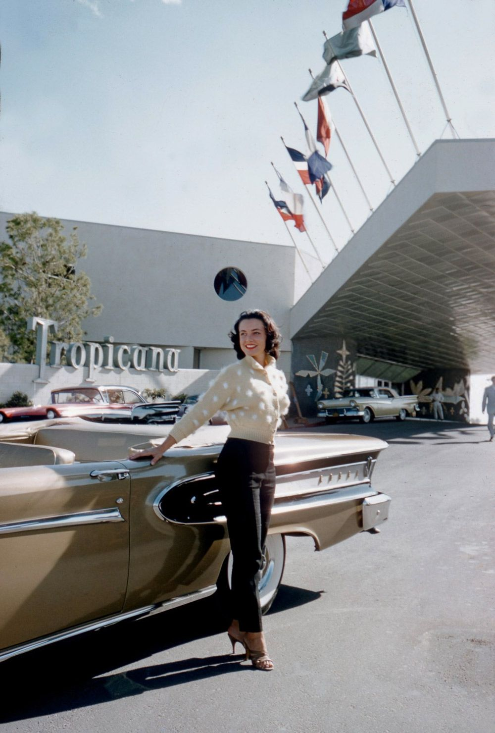 Las Vegas, 1957 at the Tropicana. The hotel was new and so was the '58 Ford Edsel Citation. Model: Kitty Dolan. Photo by Hy Peskin.