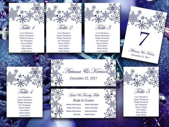 Winter Wedding Seating Chart Template Navy Blue Snowflake - number chart template