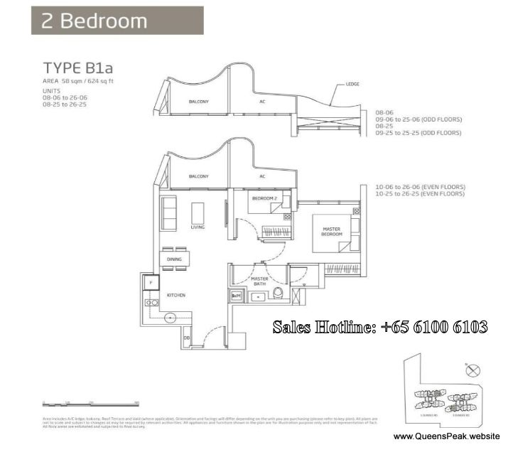 queens peak floor plan 2 bedroom-b1a